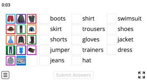 clothes vocabulary games
