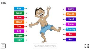 matching body parts vocabulary games