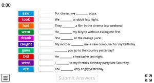 Irregular Verbs simple past tense game