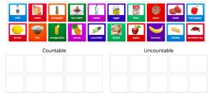 sorting countable and uncountable nouns game